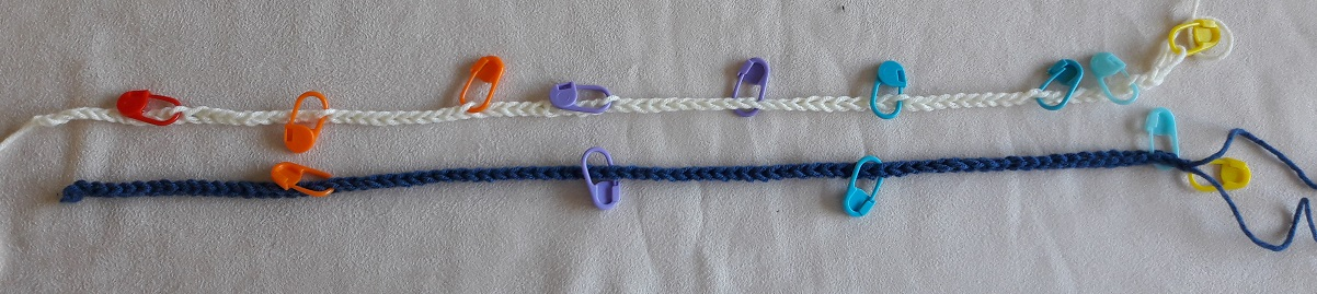 Setup rows (short) with stitchmarker coding