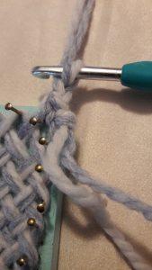 Yarn pulled through