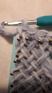 First single crochet in corner B
